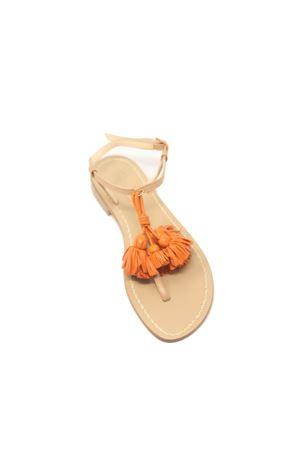 sandali donna sabbia con nappine arancio Da Costanzo | 5032256 | NAPPINEGRVACCHETTANATARANCIO