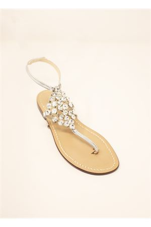 White jewel capri sandals  Da Costanzo | 5032256 | ROMBOBIGBIANCO