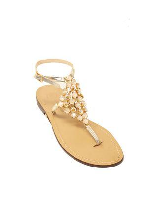 Gold and ivory jewel Capri sandals  Da Costanzo | 5032256 | ROMBOBIGIVORY