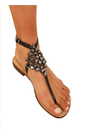 Black jewel capri sandals high at the ankle Da Costanzo | 5032256 | ROMBOBIGNERO