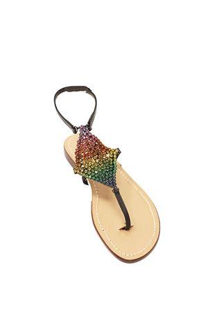 Black capri sandals with multicolored jewel Da Costanzo | 5032256 | ROMBORAINBOWNERO