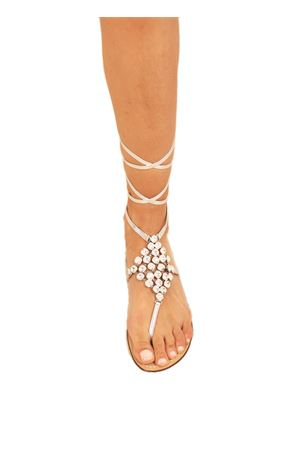 White jewel sandals slave model  Da Costanzo | 5032256 | ROMBOSCHIAVABIANCO