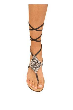 Black jewel Capri sandals  Da Costanzo | 5032256 | ROMBOSMALLSCHIAVANERO