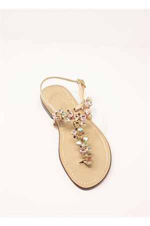 Gold and pink jewel Capri sandals  Da Costanzo | 5032256 | S3099ROSA