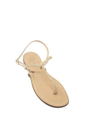 Gold swarovski jewel sandals  Da Costanzo | 5032256 | S4349ORO