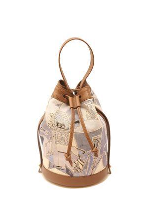 Drawstring bag with Piazza Azzurra pattern  Eco Capri | 31 | BSKPZZBROWN