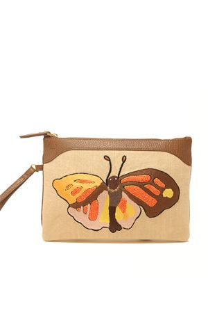 Embroidered pochette with butterfly  Eco Capri | 31 | EMBBTTCHCFARFALLA