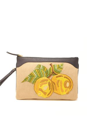 Embroidered pochette with lemons Eco Capri | 31 | EMBLMNNAVYLIMONI