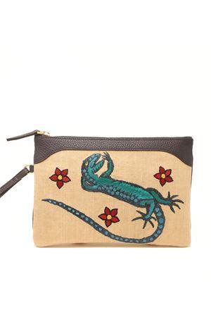 Embroidered pochette with Lizard Eco Capri | 31 | EMBLZRDNAVYLIZARD