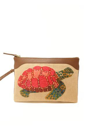 Embroidered pochette with turtle  Eco Capri | 31 | EMBTRTCHCTURTLE