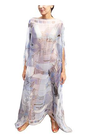 Long silk kaftan in pure silk  Eco Capri | 20000033 | W2CHBRPZZPIAZZETTAAZZURRA