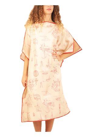 Silk Kaftan with marine pattern  Eco Capri | 20000033 | WSLA1MRNRDRED