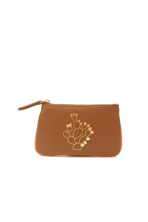 Small zipper pochette with cactus  Eco Capri | 63 | ZIPCHCAGVCACTUS