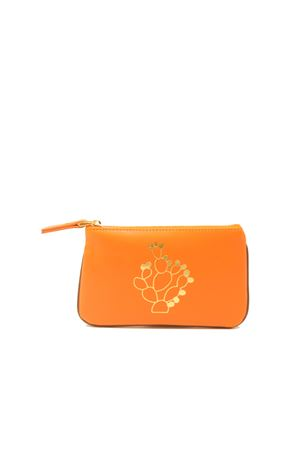 Small zipper pochette with cactus  Eco Capri | 63 | ZIPORNCACTUS