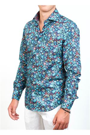 Blue and multicolored floral pattern shirt for men  Ganesh | 6 | G7000MFIOREMULTI