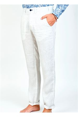 White striped linen pants  Ganesh | 9 | GU164MRIGABIANCO