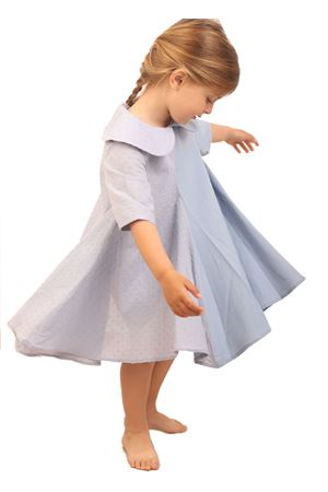 Light blue cotton dress for girl Giro Quadro | 5032262 | GQ37CELESTE