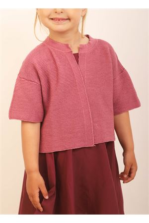 Antique pink baby cotton cardigan Giro Quadro | 39 | GQ50ROSA ANTICO