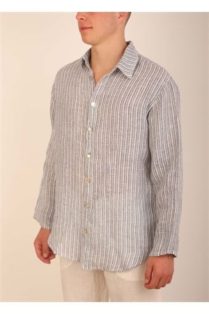 Striped linen shirt for Men  Grakko Fashion | 6 | CAMCIARIGABLUBIANCABLURIGA