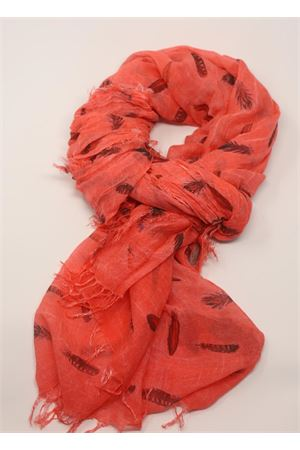 Strawberry scarf with feathers pattern Grakko Fashion | 77 | MICROMODALSCARFCORALLO