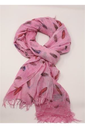 Fuchsia scarf with feather pattern Grakko Fashion | 77 | MICROMODALSCARFFUCSIA
