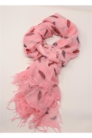 Pink scarf with feather pattern Grakko Fashion | 77 | MICROMODALSCARFROSA