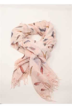 Pink scarf with feathers pattern  Grakko Fashion | 77 | MICROMODALSCARFROSACHIARO