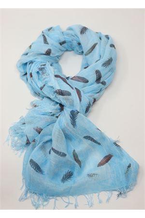sciarpa in micromodal con piume azzurra Grakko Fashion | 77 | MICROMODALSCARFTURCHESE