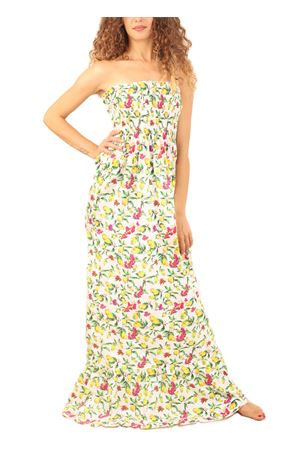 Long dress with lemons and bouganvillea pattern  La Bottega delle Idee | 5032262 | ABITOLUNGOLIMONILEMONAEBOUGANVILLEA