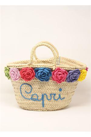 Borsa Capri in paglia con fiori all