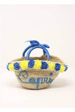 Straw bag for baby girl with roses  La Bottega delle Idee | 31 | BORSAROSEBABYAZZURRO