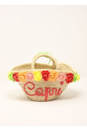 Straw bag with roses for baby girl  La Bottega delle Idee | 31 | BORSAROSEBABYCORALLO
