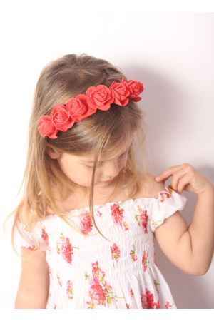 Coral roses headband for baby girl  La Bottega delle Idee | 20000050 | CERCHIETTOFIORICORALLO