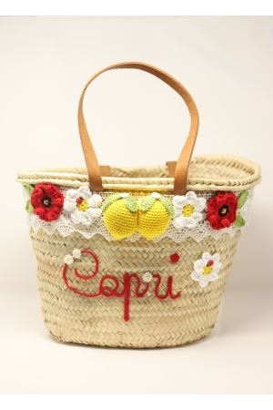 Straw bag with lemons and flowers  La Bottega delle Idee | 31 | FIORIELIMONIBAGROSSO
