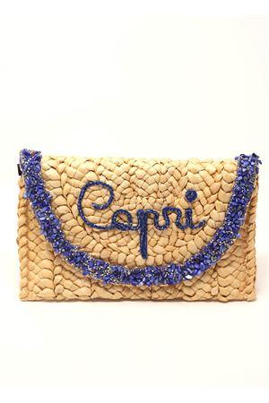 Straw clutch with Capri writing La Bottega delle Idee | 31 | POCHETTECAPRIBLUE