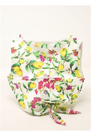 Sleeveless top for girl with lemons and bouganvillea pattern  La Bottega delle Idee | 40 | TOPLIMONIEBOUGANVILLEALEMONSEBOUG