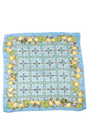 Silk scarf with lemons and majolica pattern  La Dolce Vista | -709280361 | LEMONLIMONI