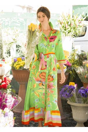 Long dress in pure silk with flowers pattern  La Dolce Vista | 5032262 | LUNGOCRAZYVERDE