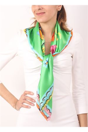 Green silk scarf with floral pattern  La Dolce Vista | -709280361 | POPVERDE