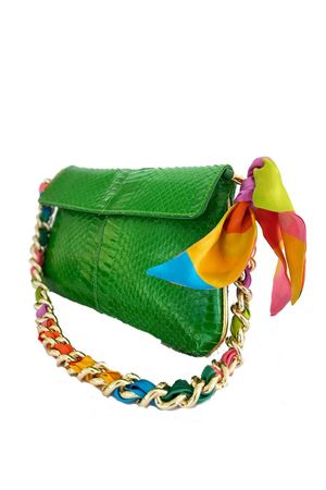 Green python shoulder bag with Como silk handle La Dolce Vista | 31 | PYTHONBAGVERDE