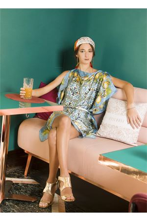 Silk tunic with lemons and majolica pattern  La Dolce Vista | 5032262 | TUNICAVESTITOMULTICOLOR