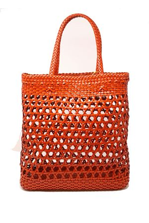 Borsa in pelle intrecciata e traforata modello tote Laboratorio Capri | 31 | 082ORANGE