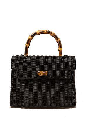 Black wicker bag with bamboo handle Laboratorio Capri | 31 | 115NERO