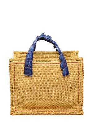 borsa in canvas con manico in coccodrillo blu cobalto Laboratorio Capri | 31 | GRETACOBALTBLUE