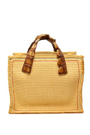 borsa in canvas con manico in coccodrillo cognac Laboratorio Capri | 31 | GRETACOGNAC2