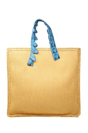 Rafia tote bag with crocodile handles  Laboratorio Capri | 31 | MARISAJADA