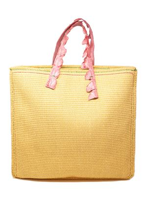 Rafia shopper bag with crocodile pink handles  Laboratorio Capri | 31 | MARISAROSAPÈASSIONE