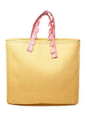 shopper in paglia con manici in coccodrillo rosa Laboratorio Capri | 31 | MARISAROSAPÈASSIONE