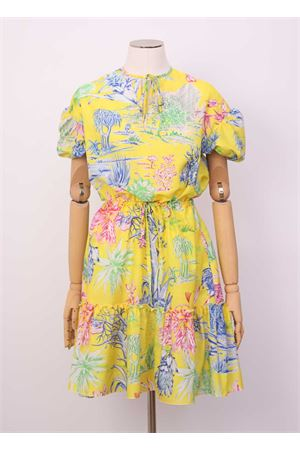 yellow short dress with flounce Laboratorio Capri | 5032262 | MARUCELLACACTUS GIALLO
