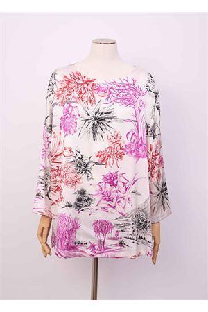 T-shirt with cactus pattern in pure silk  Laboratorio Capri | 8 | MAXITSHIRTCACTUSBIANCO
